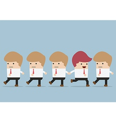 Businessman go to different way of his team indi vector
