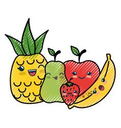 Fruits cartoon smiley vector