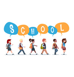 group of pupils mix race walking back to school vector image
