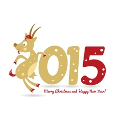 Happy New Year and goat symbol of the new year vector image vector image