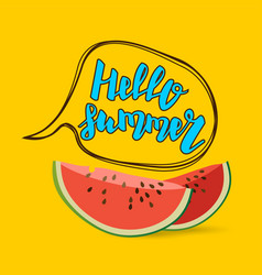 Hello summer watermelon comic text bubble vector