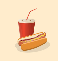 hot dog and soda cup - cute cartoon colored vector image