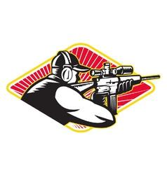 Hunter Shooter Aiming Rifle Retro vector image vector image