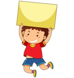 Little boy with black cardboard vector