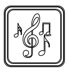 Monochrome contour with button of sets musical vector