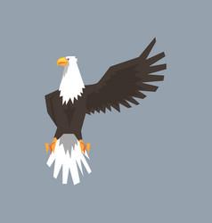North american bald eagle character raising one vector