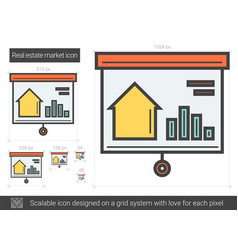 Real estate market line icon vector