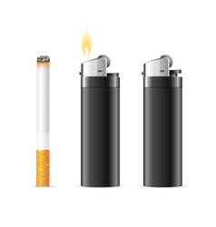 realistic 3d detailed lighter and burning vector image