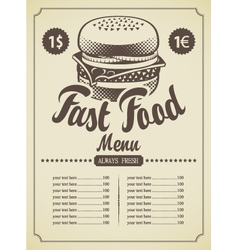 retro hamburger vector image