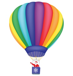 Santa claus flying on air balloon vector
