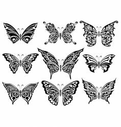 set of butterflies vector image