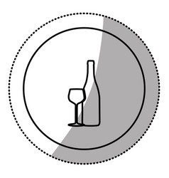 silhouette emblem wine bottle with glass icon vector image vector image