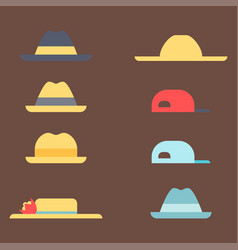 Summer panama hats straw fashion head sun vector