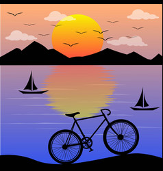 Sunset lanscape with bicycle vector