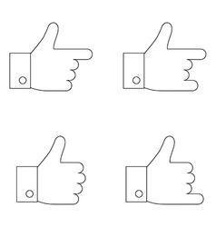 Thumbs up icon set Thin line vector image