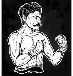 Vintage retro boxer fighter player vector