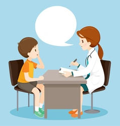 Woman Doctor Ask Boy About Symptoms vector image
