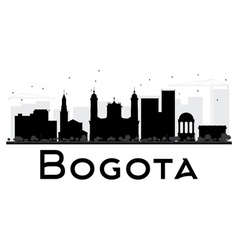 Bogota city skyline black and white silhouette vector