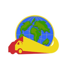 Delivery truck lorry globe retro vector