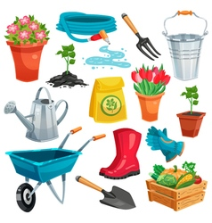 Garden set with sprout and inventory vector
