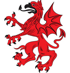 Red griffin heraldry symbol vector