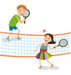 Children playing tennis vector