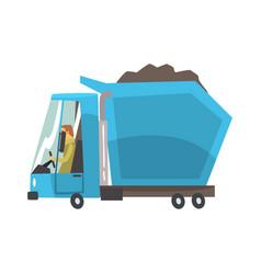 Blue heavy duty dump truck with coal freight vector