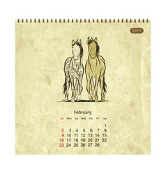 Calendar 2014 february Art horses for your design vector image
