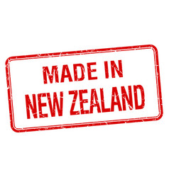 Made in new zealand red square isolated stamp vector