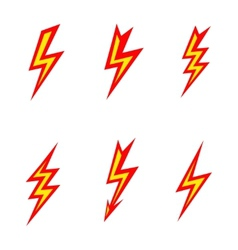 Lightning colored silhouettes on white background vector