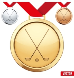 Gold medal with the symbol of a golf inside vector