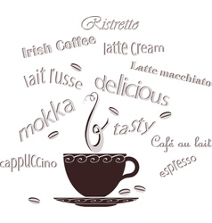 Coffee cup beans text vector