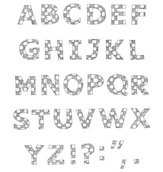 Hand written checkered alphabet vector