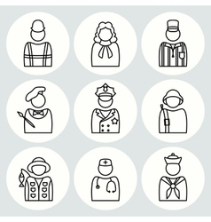 People profession icon set judge artist painter vector