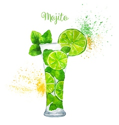 Watercolor mojito cocktail on the white background vector