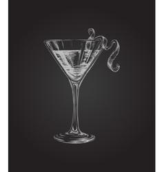 Hand drawn sketch cosmopolitan cocktail drinks vector