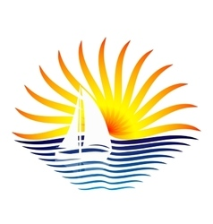 Logo with the sailboat and sun vector