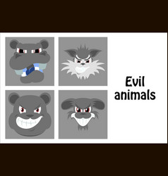 Assembly of flat icons on theme evil animals vector