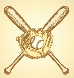 Baseball bat ball glove vector