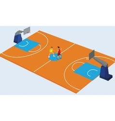 basketball court arena match game basket player vector image