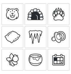 Bear icon set vector image vector image