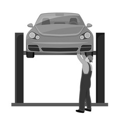 Car on the lift single icon in monochrome style vector