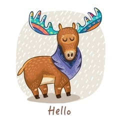 card with awesome elk vector image vector image