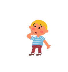 cartoon character boy in surprise vector image vector image