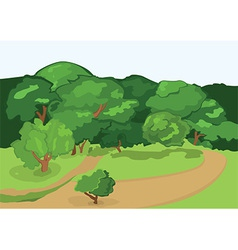 Cartoon village road and green trees vector image vector image
