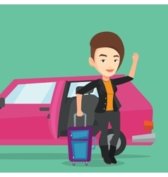 Caucasian woman traveling by car vector