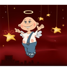 Christmas angel cartoon vector image