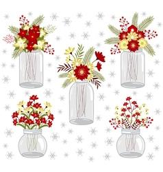 Christmas Flowers In Jars vector image vector image