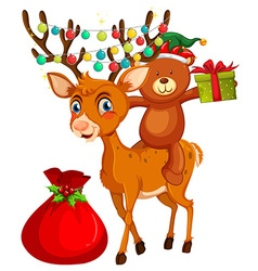 Christmas theme with bear and reindeer vector image vector image