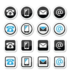 Contact labels in circle and square set - mobile vector image vector image